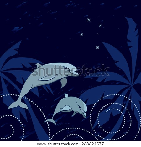 travel  illustration with dolphins, palms and Southern Cross - stock photo