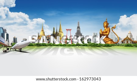 Travel in Bangkok, concept panorama landscape - stock photo