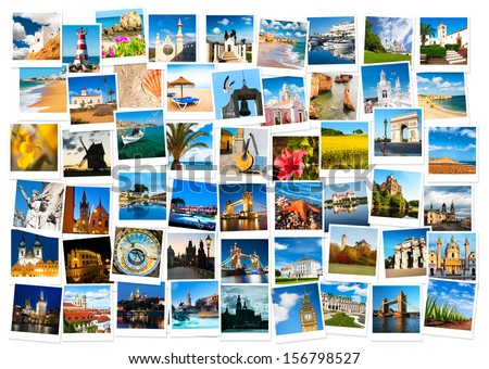 Travel in Europe and nature collage - stock photo