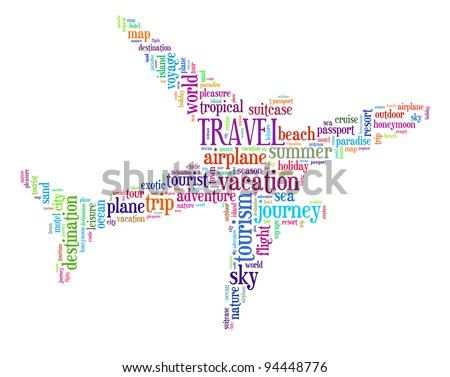Travel info-text graphics and arrangement concept (word cloud) - stock photo