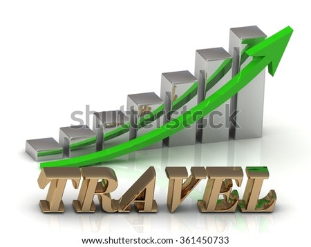 TRAVEL- inscription of gold letters and Graphic growth and gold arrows on white background - stock photo