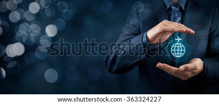 Travel insurance and business travel concepts. Insurance agent or businessman with protective gesture and icon of plane and globe. Wide banner composition with bokeh in background.