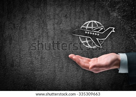 Travel insurance and business travel concepts. Insurance agent with protective gesture and icon of plane and globe.