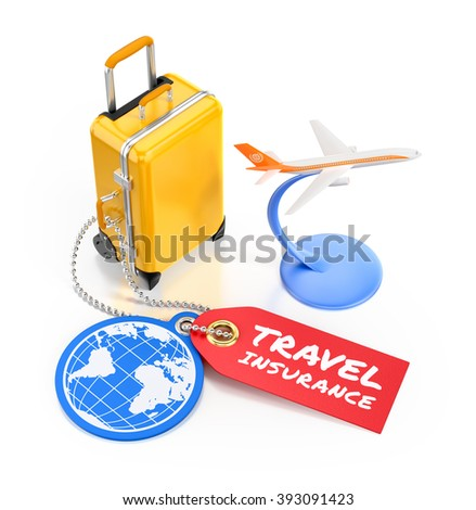 Travel Insurance. Illustration on the subject of Travel and Tourism. 3D rendered graphics on white background. - stock photo