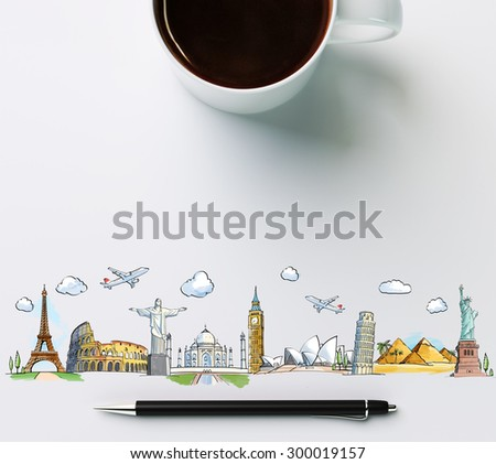 travel landmarks with cup of coffee and pen, concept - stock photo
