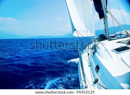 Travel .Luxury Yacht. Sailing - stock photo