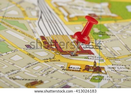 travel map - stock photo