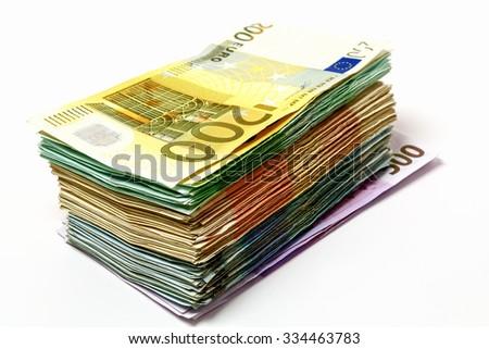 Travel money, various euro notes 500, 200, 100, 50, 20 - stock photo