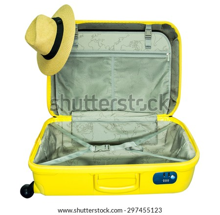 Travel, Opened Suitcase isolated on white background - stock photo
