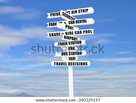 Travel Options Directional Arrow Sign Blue Sky Clouds - stock photo