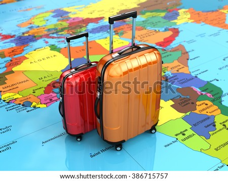 Travel or tourism concept. Luggage on the world map. 3d - stock photo