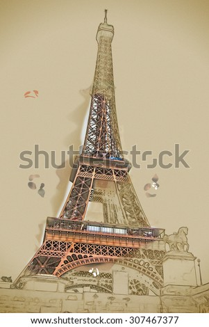 Travel painting with pencil and watercolor. Eiffel tower at dusk, above clouds. viewed from seine - stock photo