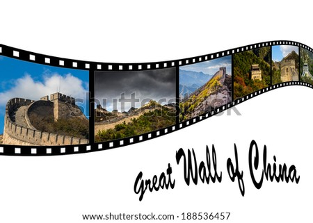 Travel Photo Film Strip of Great Wall of China - stock photo