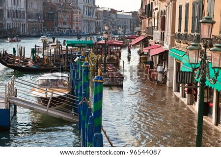 Travel pictures of the old channel city Venice  Santa Lucia Italy - stock photo