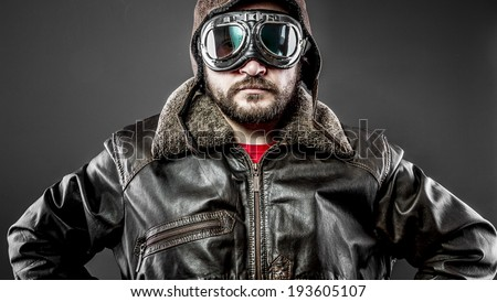 Travel, pilot cap and goggles motorcycle vintage style - stock photo