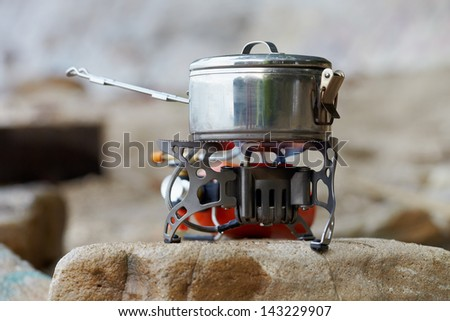 Travel portative gas stove for bouling - stock photo