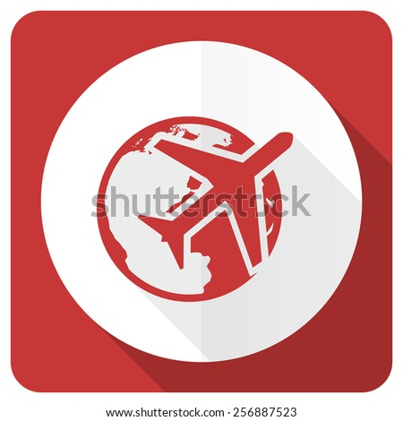 travel red flat icon   - stock photo