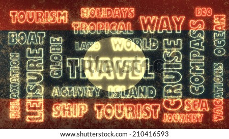 travel related tags cloud on laos national flag - stock photo