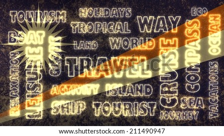 travel related tags cloud on Marshall Islands national flag - stock photo