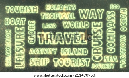 travel related tags cloud on micronesia national flag - stock photo