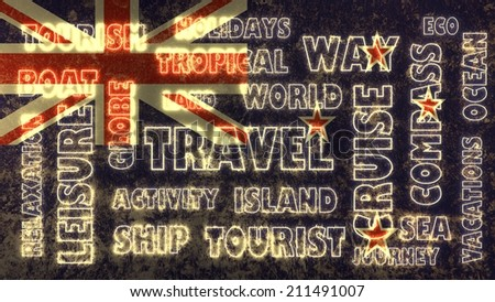 travel related tags cloud on new zealand national flag - stock photo