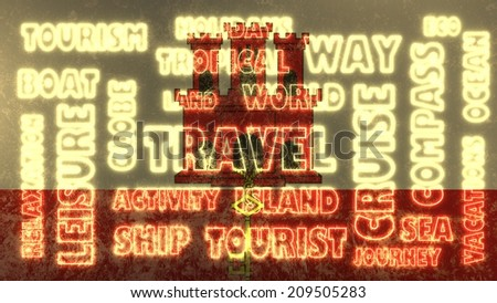 travel relative tags cloud on gibraltar national flag - stock photo