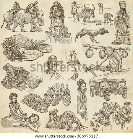 Travel series, Kingdom of THAILAND - Pictures of Life. Collection of an hand drawn illustrations. Description, Full sized hand drawn illustrations (freehand sketches). Drawing on paper background. - stock photo