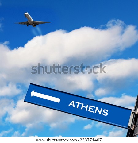 travel sign on sky,travel to Athens - stock photo