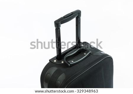 Travel Suitcase Black isolated on white - stock photo