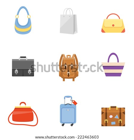 Travel suitcase, business briefcase, shopping bag and backpack icons - stock photo