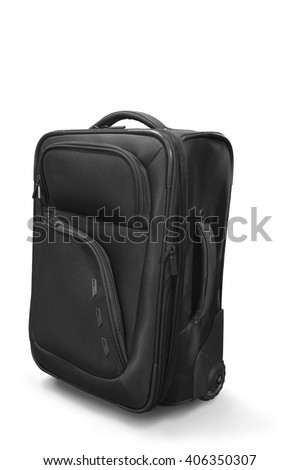 Travel suitcase handle elegant vacation bag for tourism travel. Tag with information on baggage Object isolated on white background. This has clipping path.  - stock photo