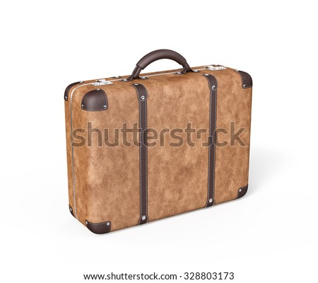 Travel Suitcase , Isolated on white , 3d render - stock photo