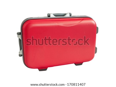 Travel Suitcase red color on white background - stock photo