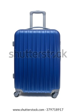 travel suitcase with clipping path - stock photo
