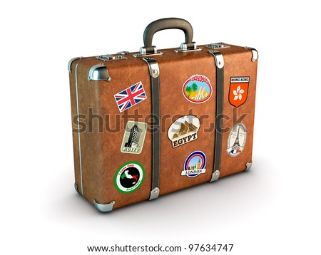 Travel Suitcase with stickers. Clipping path included. Computer generated image. - stock photo