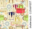 travel suitcases seamless illustration with floral patter - stock photo