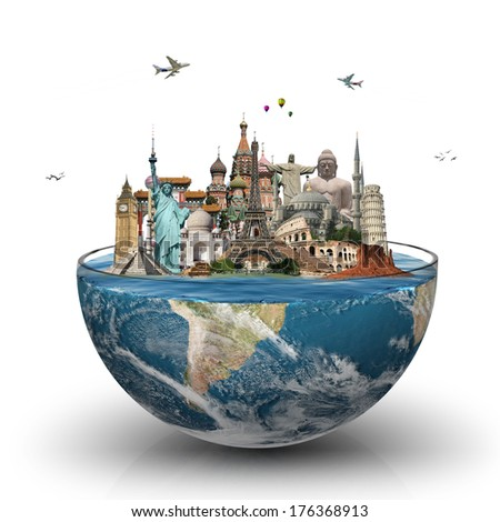 Travel the world monuments concept  - stock photo