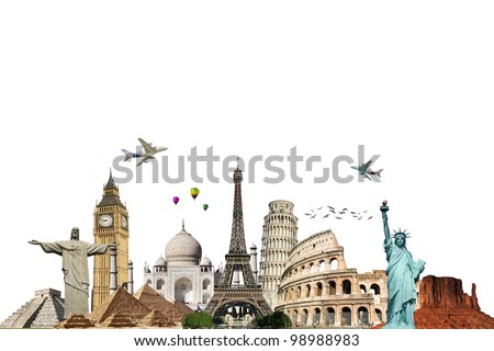 Travel the world monuments concept on white background - stock photo