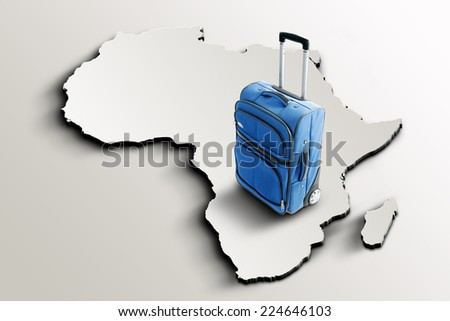 Travel to Africa. Blue suitcase on 3d map - stock photo