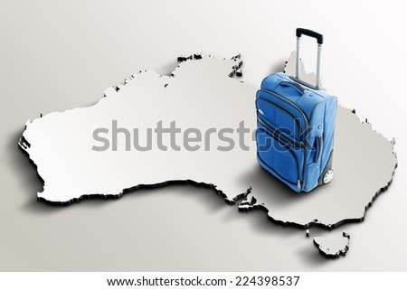 Travel to Australia. Blue suitcase on 3d map of the country - stock photo