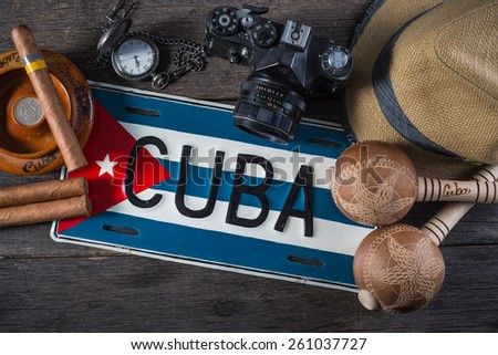 Travel to Cuba, vintage items overhead - stock photo
