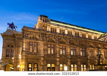 travel to Vienna city - Vienna State Opera House from Ringstrasse in night, Vienna. - stock photo