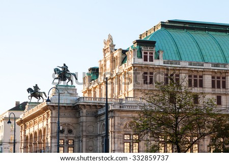 travel to Vienna city - view of Vienna State Opera House from Ringstrasse, Vienna. - stock photo