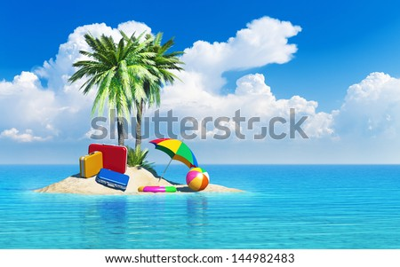 Travel, tourism and vacations concept: travel cases luggage, umbrella. beach ball and lifebelt on lonely island with green palm trees in tropical sea water summer landscape with blue sky with clouds - stock photo