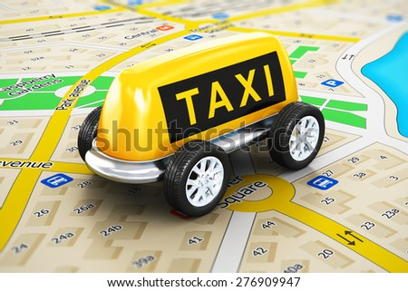 Travel, tourism sightseeing and internet web taxi online service business transportation concept: macro view of toy car made from yellow taxi sign with attached auto wheels on color city map - stock photo