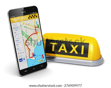 Travel, tourism sightseeing and internet web taxi service business transportation concept: smartphone with online satellite GPS taxi application on screen and yellow taxi sign isolated on white - stock photo