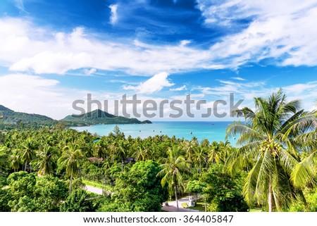 Travel vacation background - Koh Tao, Thailand, Asia - stock photo