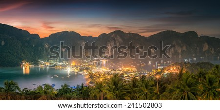 Travel vacation background - Tropical island with resorts - Phi-Phi island, Krabi Province, Thailand - stock photo