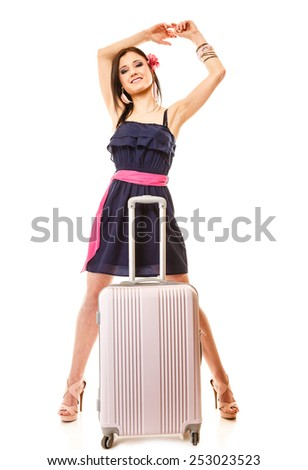 Travel vacation concept. Young summer fashion woman in voyage, girl in full length with pink suitcase luggage bag. - stock photo