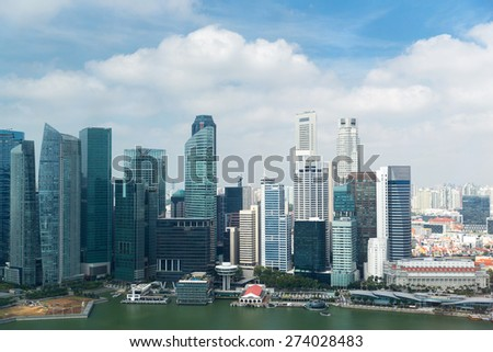 travel, vacation, tourism and luxury concept - beautiful view to bangkok city seafront - stock photo